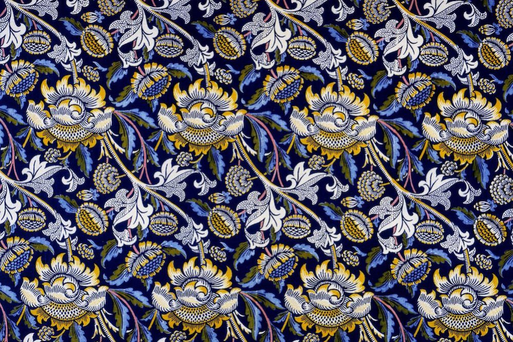 William Morris, Wey, 1883. Indigo discharge and block printing on cotton. Victoria and Albert Museum.