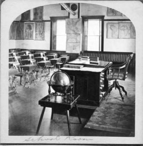 a photograph of an empty classroom