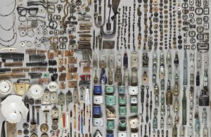 a background image with hundreds of found objects laid out
